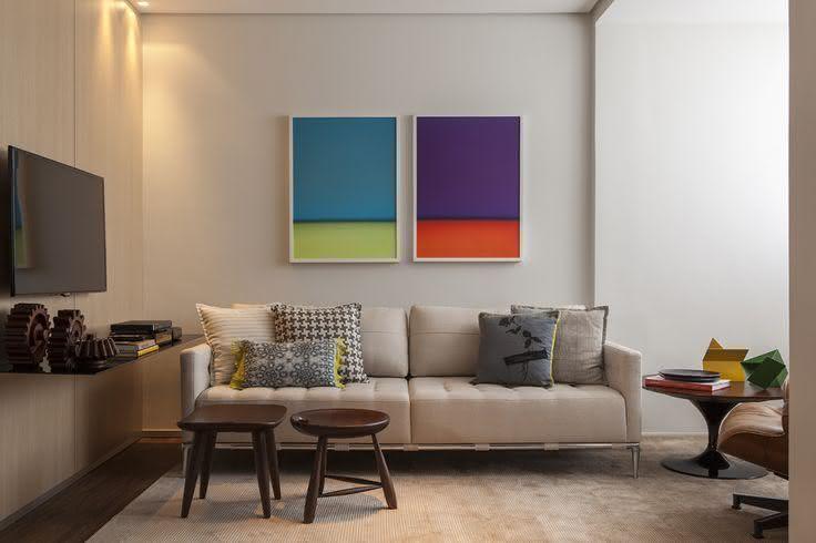 Sala De Estar Com Quadros Modernos ~ Imagem 4 – Quadro de madeira em 3D na sala de estar