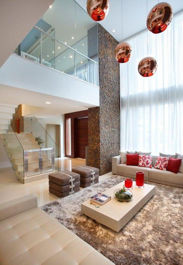 Como escolher o tapete da sala 50 fotos e exemplos for Sala de estar grande com escada