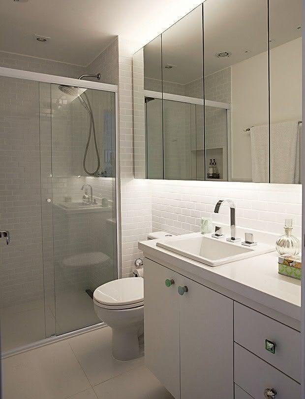 100 Banheiros Simples e Pequenos Inspiradores  Fotos -> Decoracao De Banheiro Ceramica