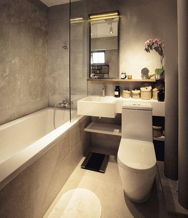 100 banheiros simples e pequenos inspiradores fotos for Finished bathroom ideas