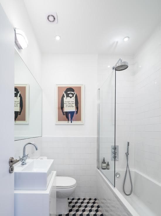 100 Banheiros Simples e Pequenos Inspiradores  Fotos -> Azulejo Banheiro Simples