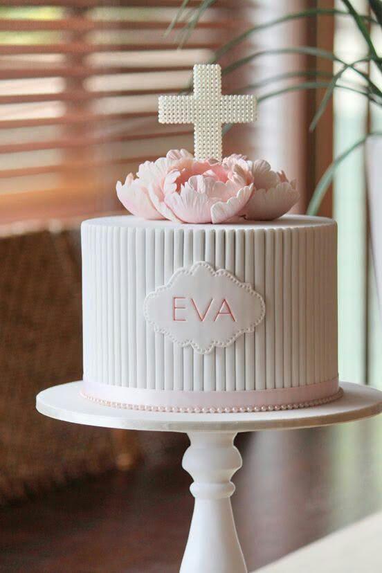 Decoração de bolo personalizado com nome para batizado