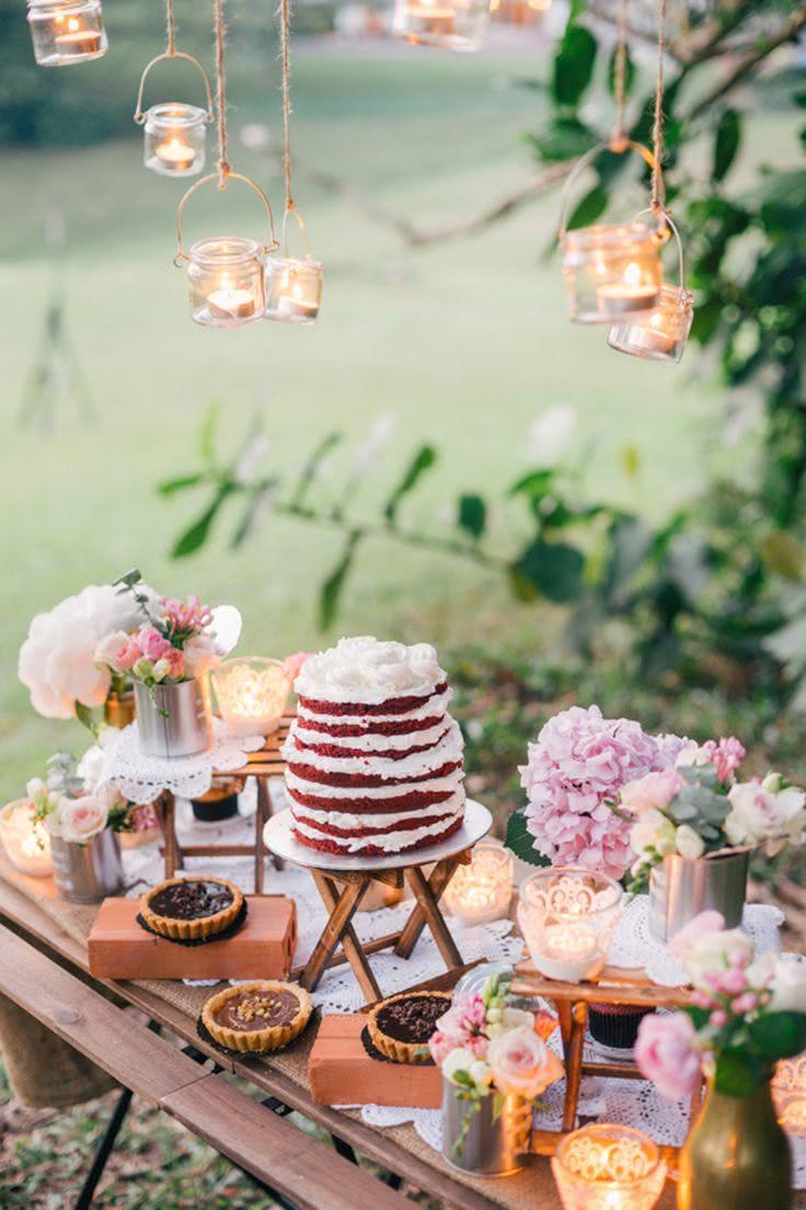 Mesas de bolo de casamento