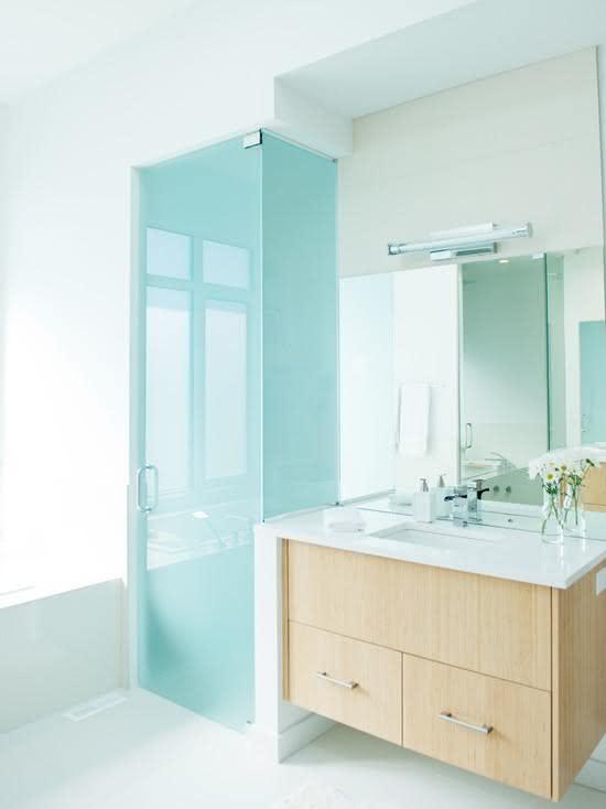 100 Banheiros Simples e Pequenos Inspiradores  Fotos -> Banheiro Pequeno Vidro