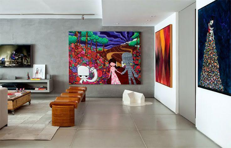 Quadros Para Sala De Estar Simples ~ Imagem 7 – Quadro com imagem abstrata na sala de estar
