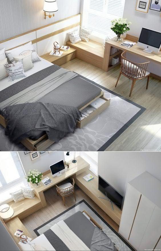 A marcenaria com níveis diversos, agregando mais funções: criado-mudo, descanso, home-office e bancada para o televisor