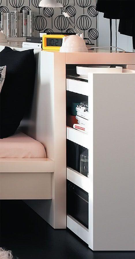 Cabeceira de cama projetada para ter mais espaço de armazenamento
