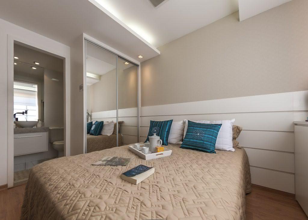 Proposta de quarto de casal com armário pequeno