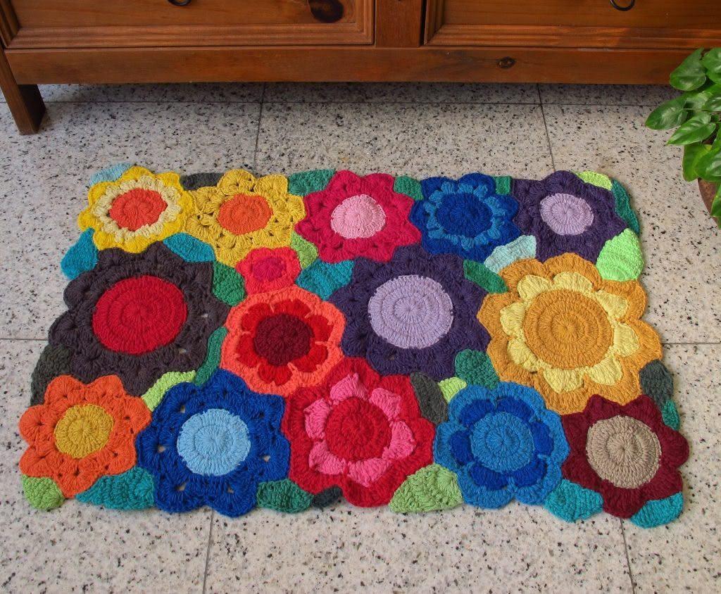 Tapete de crochê floral