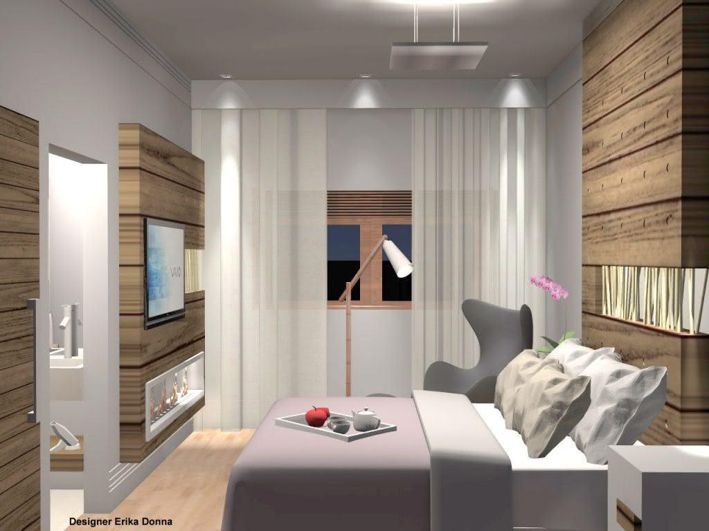 Projeto de um quarto de casal pequeno com uma decoração simples