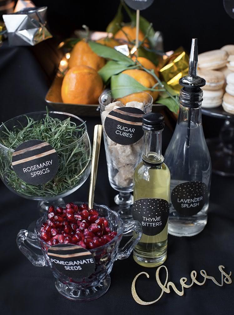 Mesa de drinks para o Reveillon