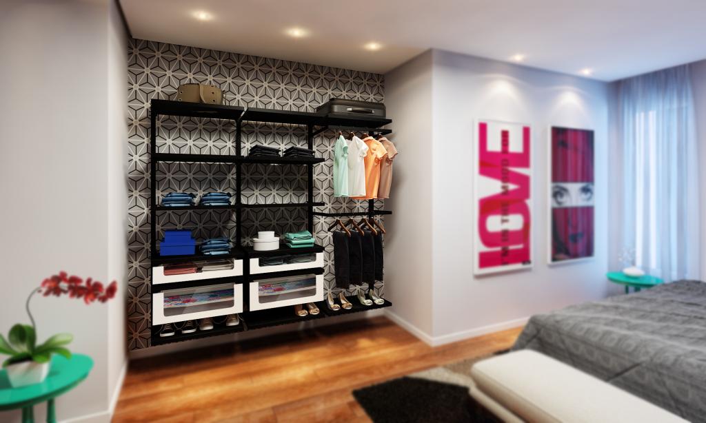 No lugar do armário tradicional, opte pelo armário aramado com um fundo em papel de parede!