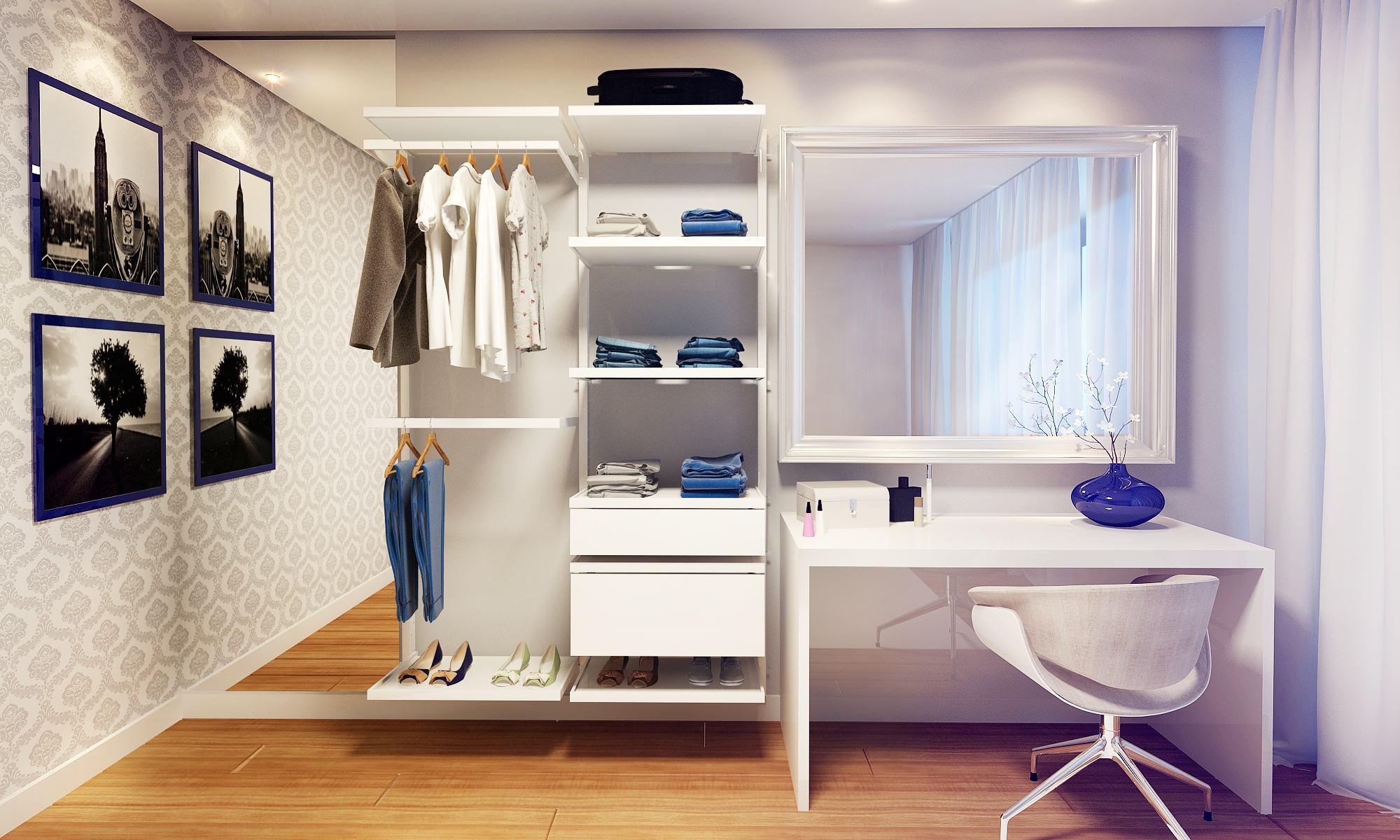85 closets pequenos inspiradores solu es e ideias for Modelos de closets para dormitorios pequenos