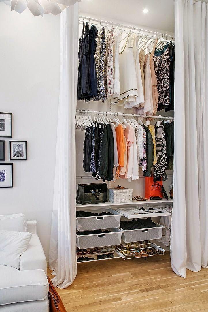 85 closets pequenos inspiradores solu es e ideias for Modelos closet incrustados pared