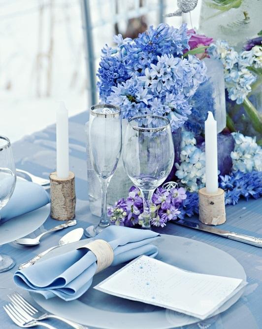 Imagem 18 – Decoração de casamento azul para jogo de jantar