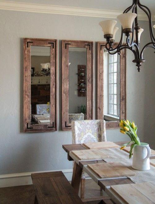 Espelho Para Sala De Jantar Tabaco ~ Imagem 28 – Sala de jantar com espelho com estilo rústico