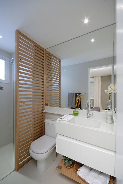 80 Divisórias de Ambientes Vazadas Inspiradoras -> Banheiros Sociais Modernos