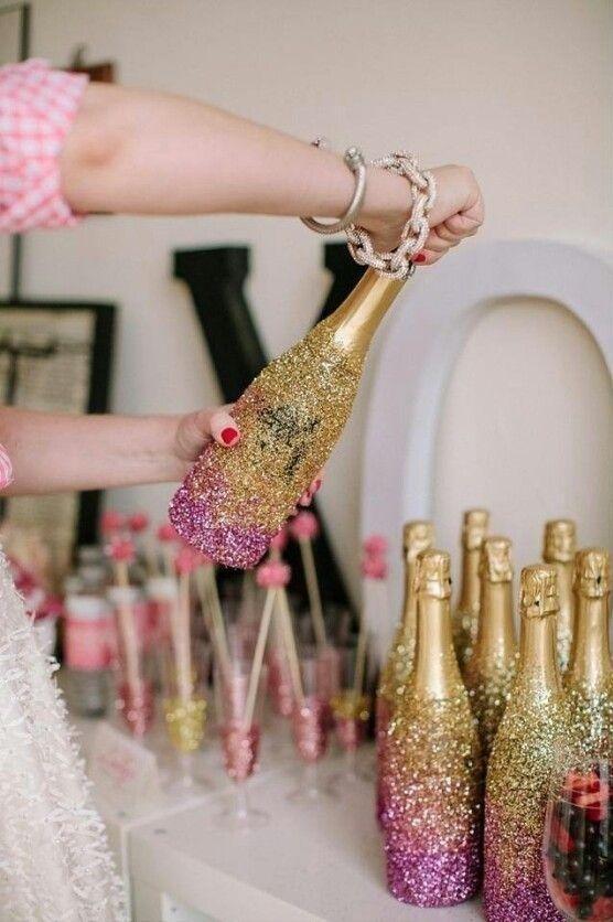 Garrafa com glitter rosa