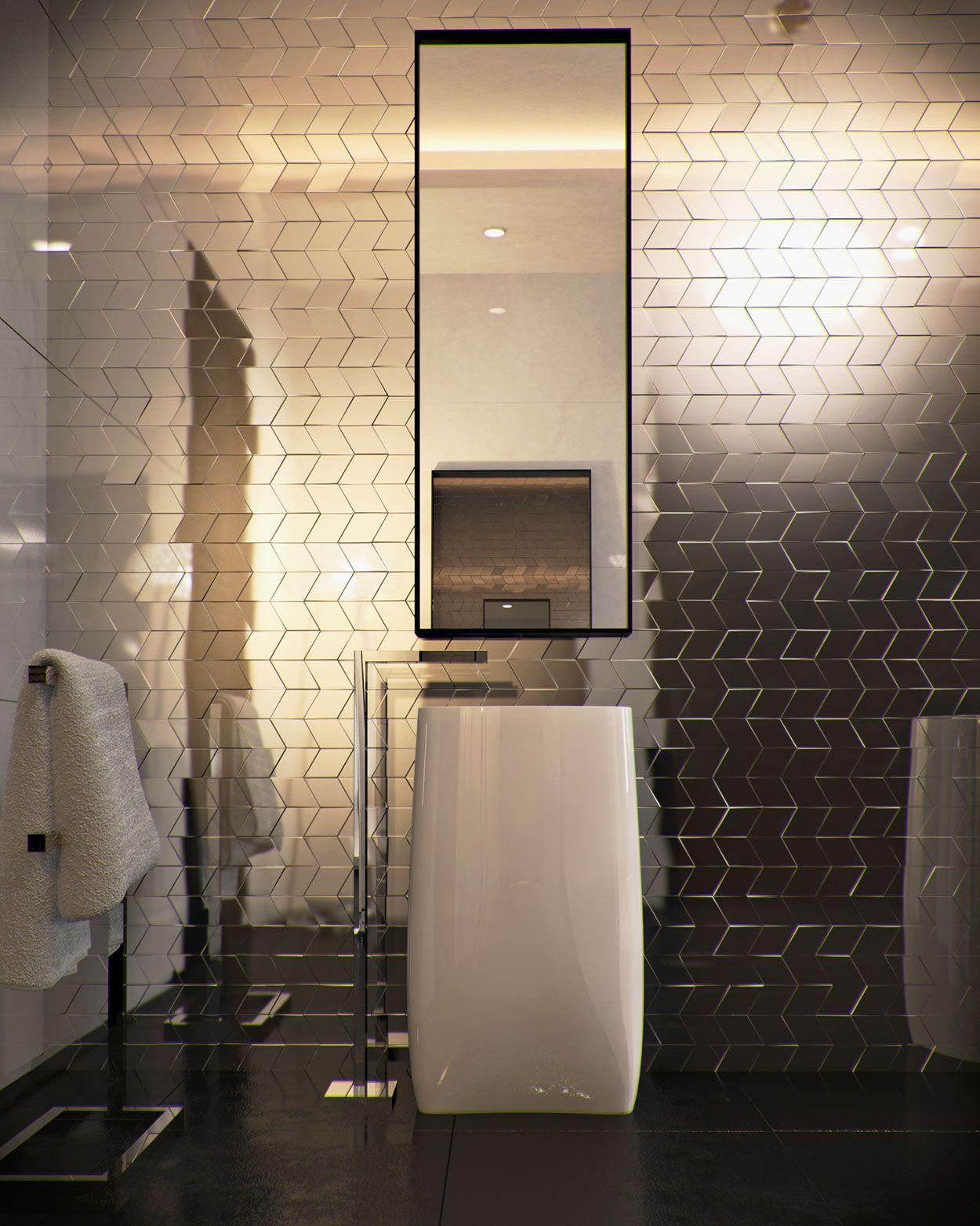 As pastilhas metalizadas trazem um impacto visual, levando mais sofisticação ao banheiro.
