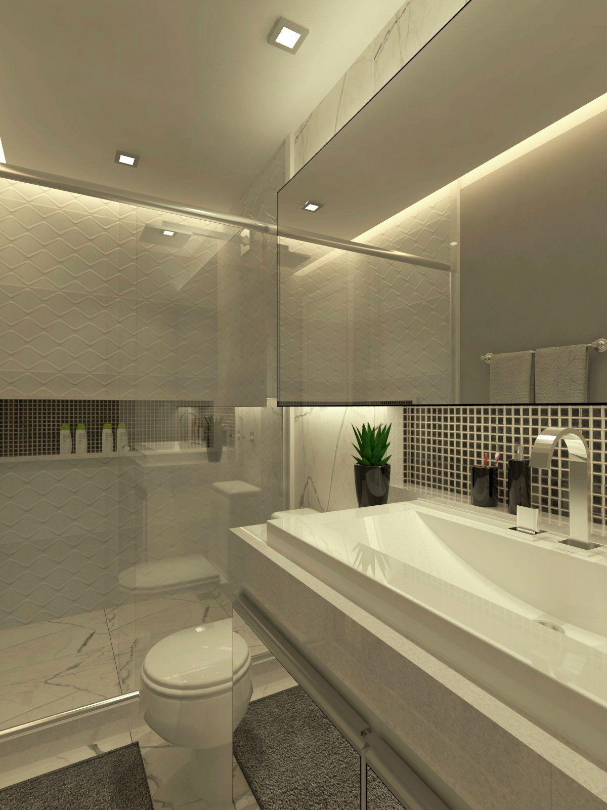 Pastilhas em banheiro compondo com espelho.