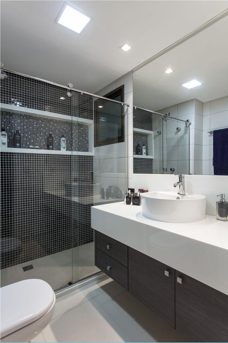 50 Banheiros Decorados com Pastilhas (melhores fotos!) -> Banheiros Modernos Na Cor Preta