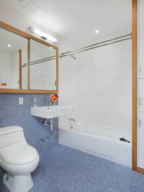 50 Banheiros Decorados com Pastilhas (melhores fotos!) -> Banheiro Com Pastilha No Fundo