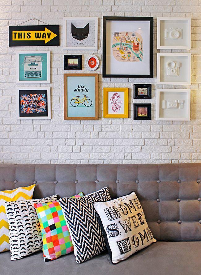 Quadros Na Parede Da Sala De Estar ~  38 – Os quadros mais simples que destacou na decoração na sala