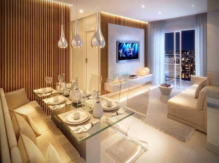 Sala De Jantar E Sala De Tv Juntas ~ Imagem 42 – Um exemplo de cozinha integrada a sala de jantar