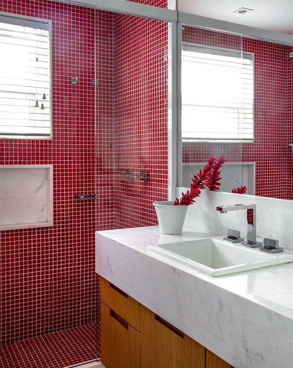 50 Banheiros Decorados com Pastilhas (melhores fotos!) # Banheiro Decorado Com Revestimento Pastilhado