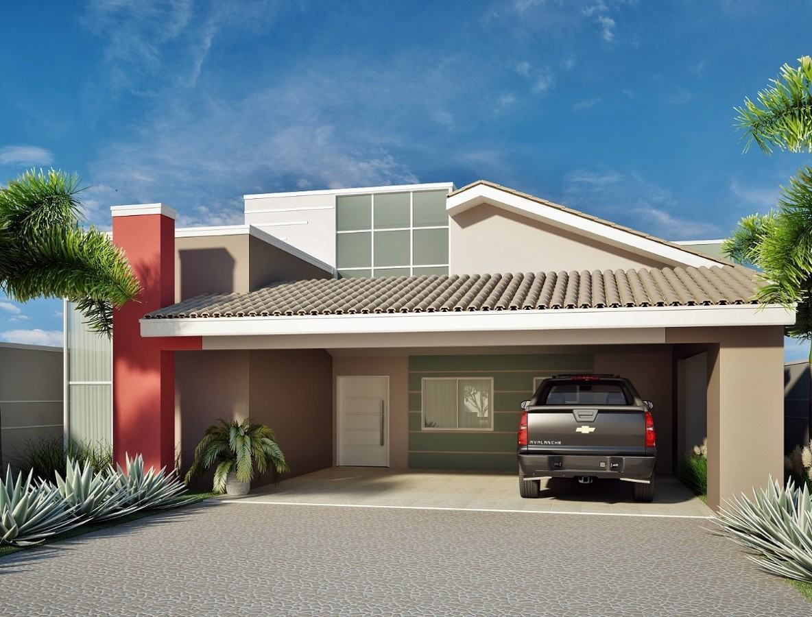 109 fachadas de casas simples e pequenas fotos lindas for Casas modernas hermosas