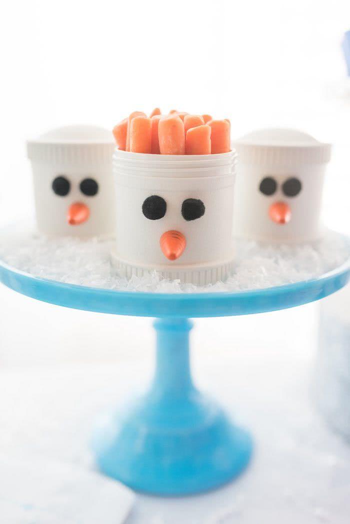 O nariz de cenoura do Olaf viram snacks saudáveis.