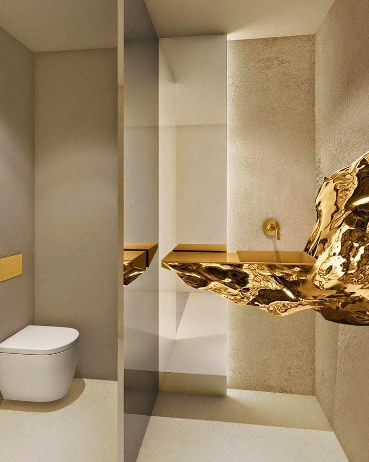 50 Banheiros com Metais e Detalhes Dourados -> Cuba De Banheiro Triangular