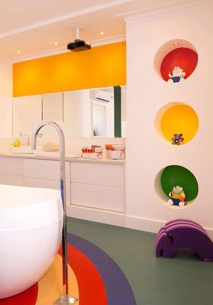 50 Banheiros Coloridos Lindos e Inspiradores  Fotos -> Banheiro Feminino Desenho