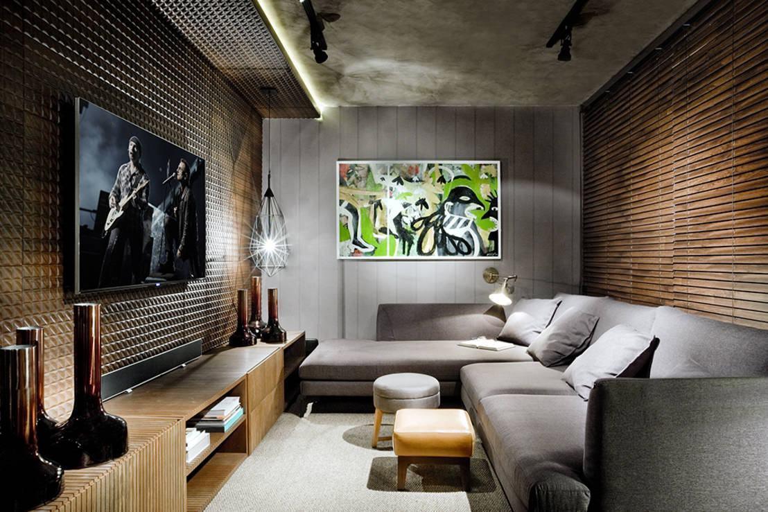 75 Sof S Com Chaise Em Salas De Estar Fotos -> Sala De Tv Verde