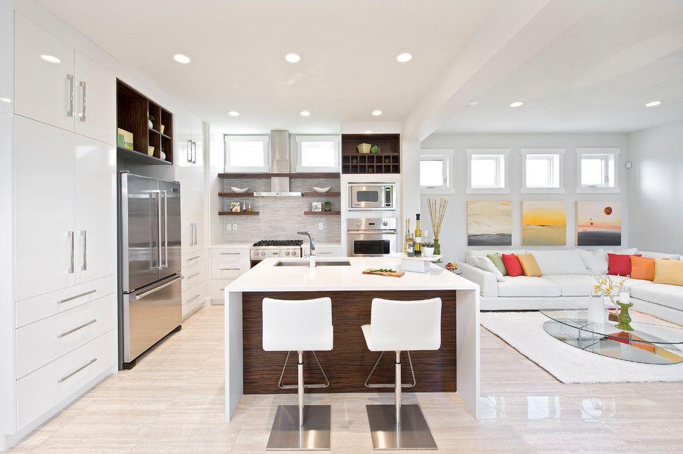 imagem u amplo ambiente em projeto de cozinha com ilha e sala de estar integradas