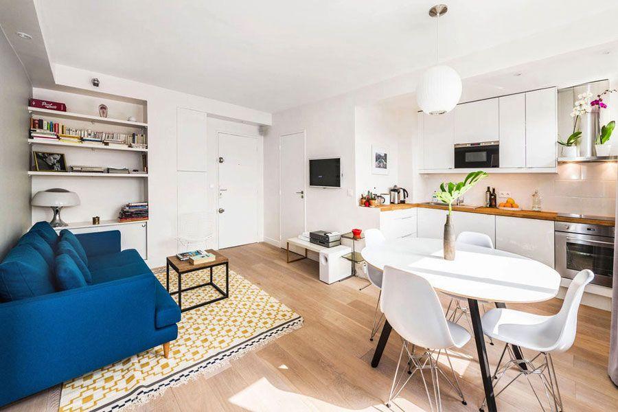 em um apartamento pequeno do tipo studio a sala de estar jantar e a cozinha no so separadas por paredes uma opo com bastante amplitude e que