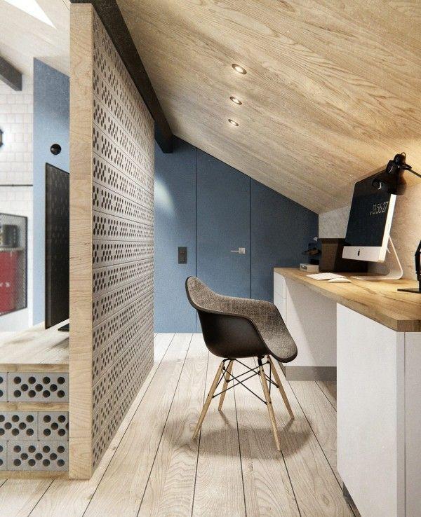 Divisória com tijolo em concreto deixou o cômodo com clima industrial.