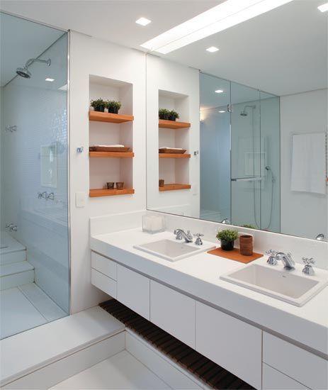 60 Nichos para Banheiros  Ideias e Fotos Lind -> Nichos Para Banheiro Branco