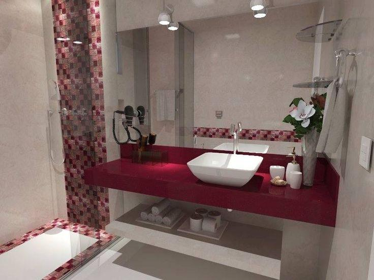 60 Banheiros Vermelhos Lindos para se Inspirar -> Decoracao De Banheiro Com Cuba Vermelha