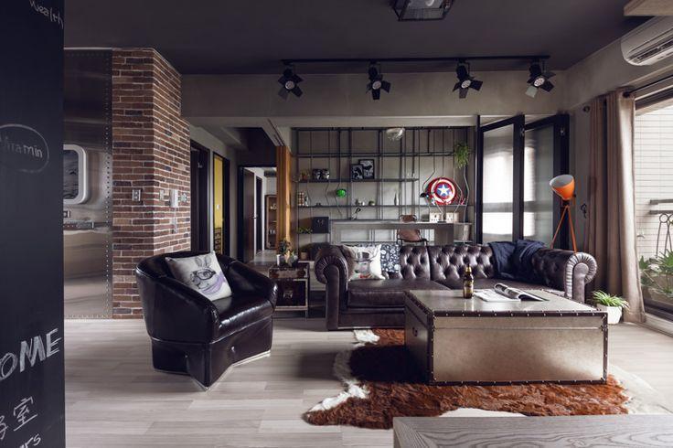 Sala de estar perfeita para o estilo industrial.