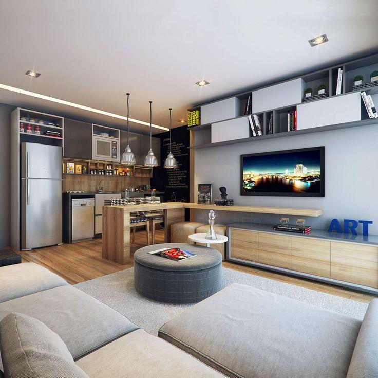 Sala De Estar Em Tom Cinza ~ Imagem 21 – Para uma sala com cozinha integrada