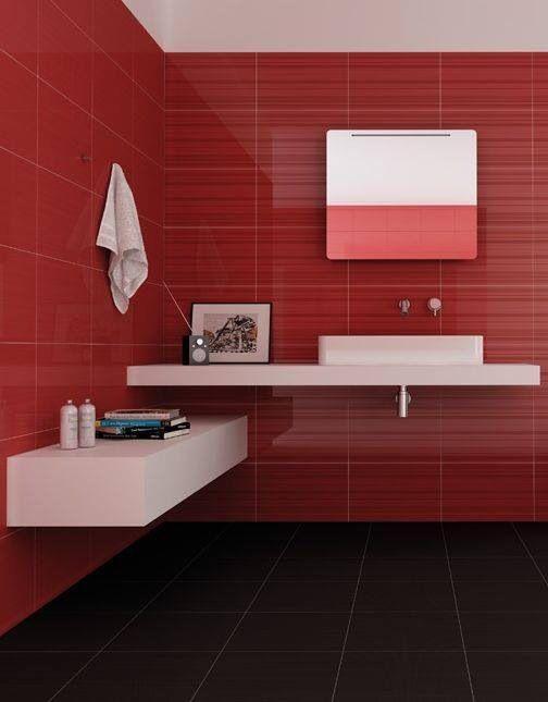60 Banheiros Vermelhos Lindos para se Inspirar -> Banheiros Decorados Em Vermelho E Branco