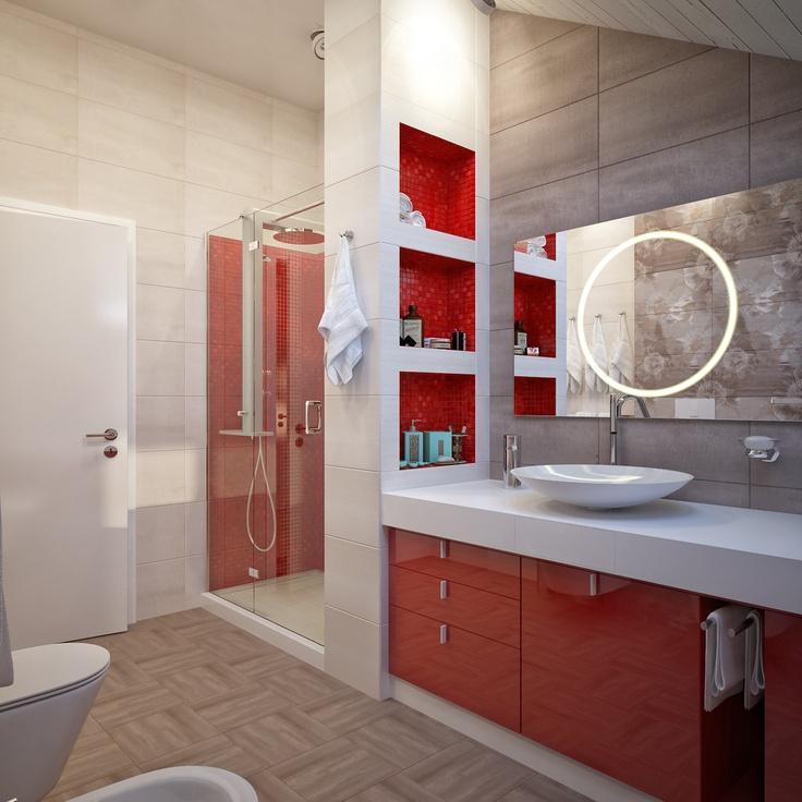 60 Banheiros Vermelhos Lindos para se Inspirar -> Nicho Vermelho Banheiro