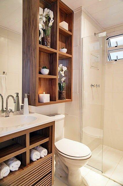 60 Nichos para Banheiros  Ideias e Fotos Lindas -> Nicho Para Banheiro Toalhas