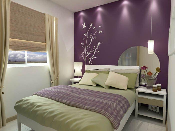 60 quartos roxos decorados fotos e ideias for Quadros dormitorio
