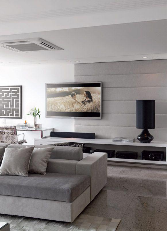 Sala De Tv Com Cinza ~ Imagem 34 – Painel de parede a parede para a sala de estar