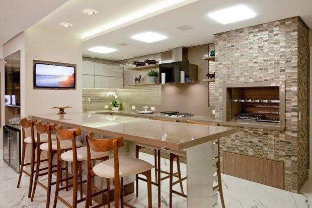Revestimentos para Churrasqueiras 60 Ideias e Fotos # Cozinha Planejada Com Churrasqueira