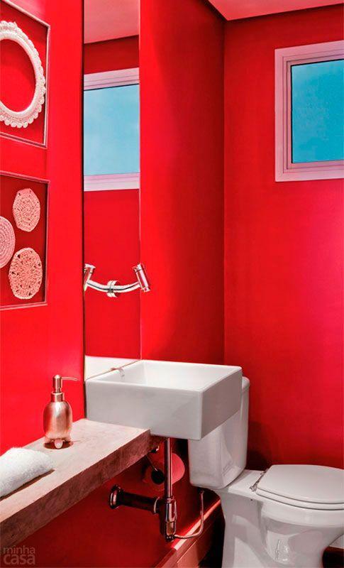 60 banheiros vermelhos lindos para se inspirar : 60 Banheiros Vermelhos Lindos para se Inspirar