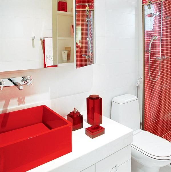 60 Banheiros Vermelhos Lindos para se Inspirar -> Decoracao De Banheiro Vermelho E Branco