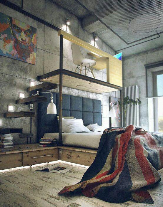 A parede em concreto deixa o quarto com mais clima industrial.